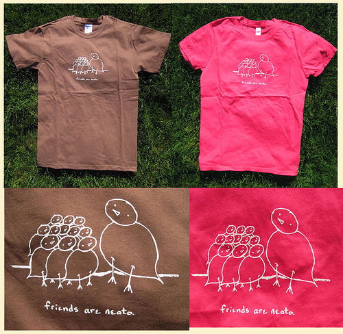 Friends Are Neato, brown & pink tees