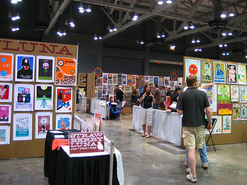 Part of my booth at Flatstock, SXSW in Austin, TX 2008