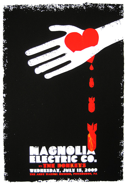 3-color, all hand screenprinted poster for Magnolia Electric Co.'s show on 7/15/09.